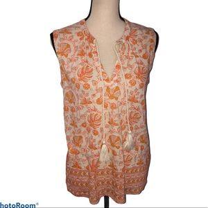 Lucky Brand sleeveless tassel front blouse Size S